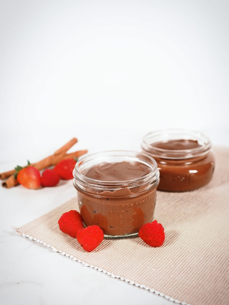 finished dairy-free vegan chocolate pudding recipe with fresh fruit