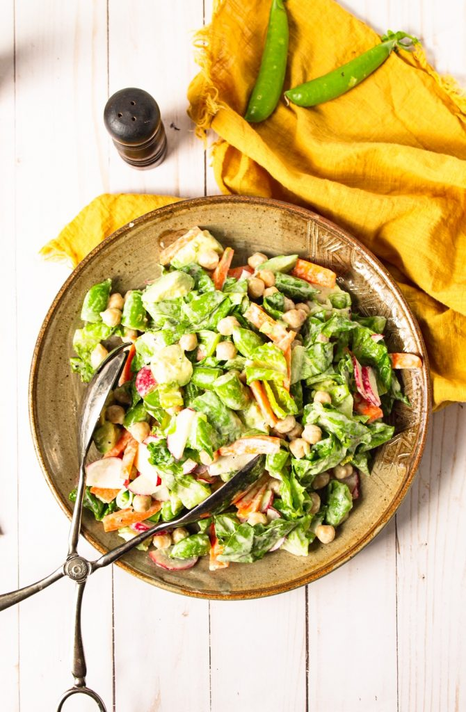 flatlay image of vegan chopped salad