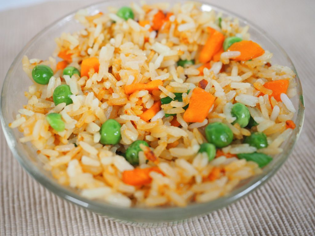 close up of vegan fried rice in bowl