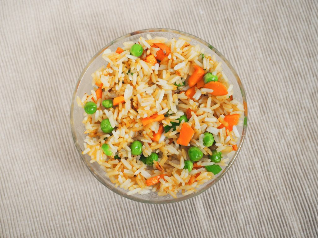overhead view of vegan fried rice recipe