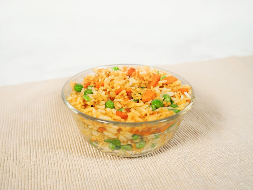 small bowl of fried rice with vegetables
