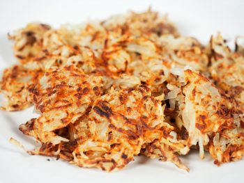 crispy vegan hash browns on plate