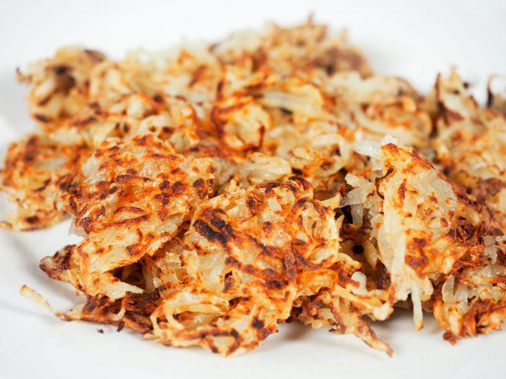 crispy vegan hash browns on plate