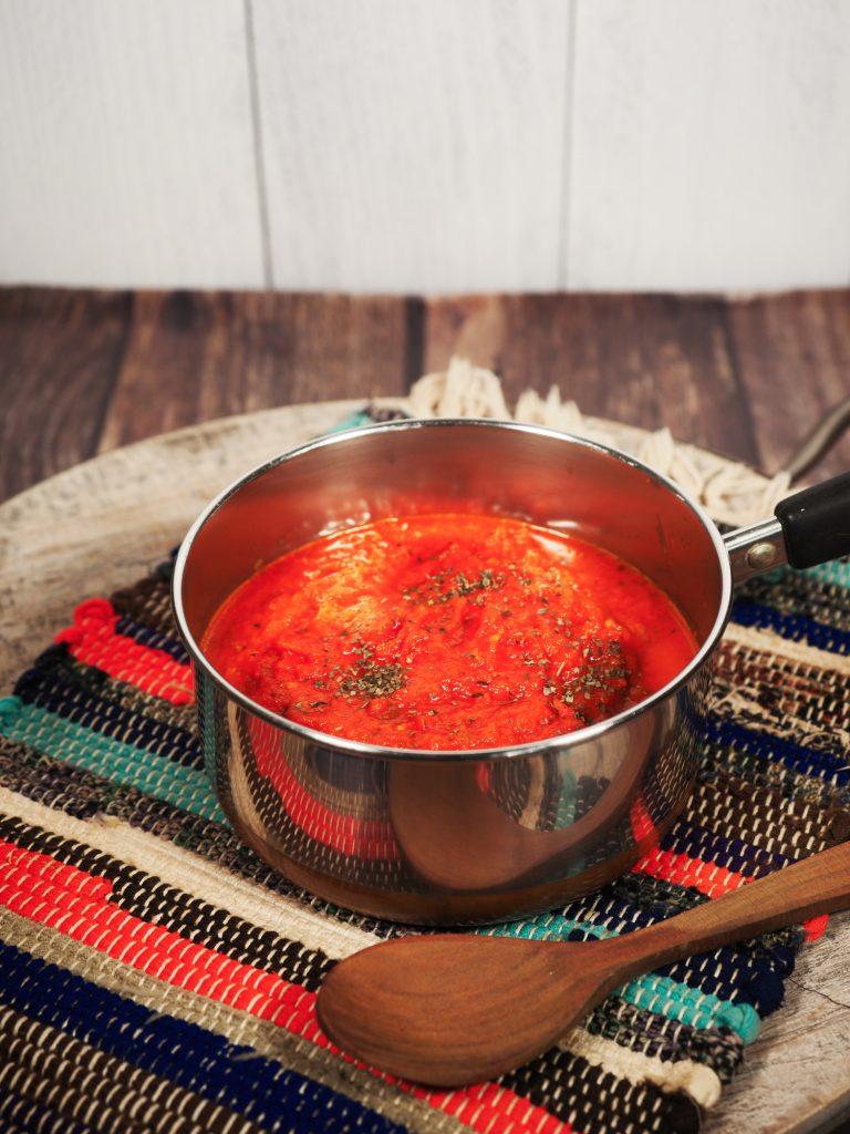 vegan tomato sauce in small sauce pan