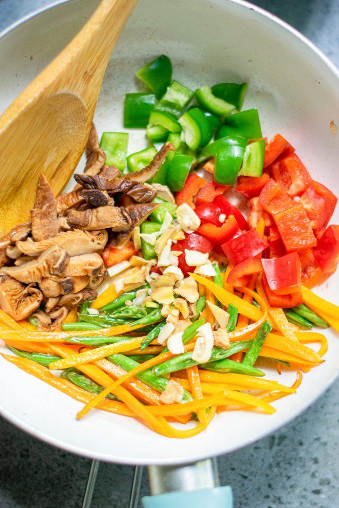vegetables in a stir fry pan