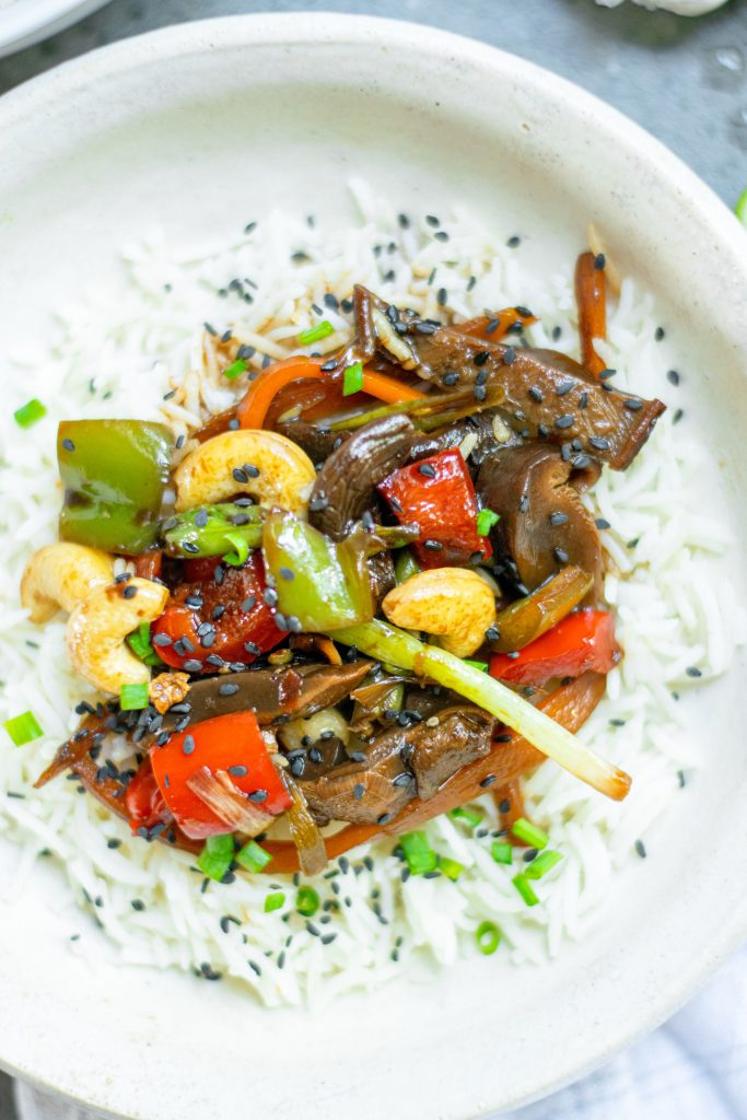 above view of Kung Pao vegetables over rice