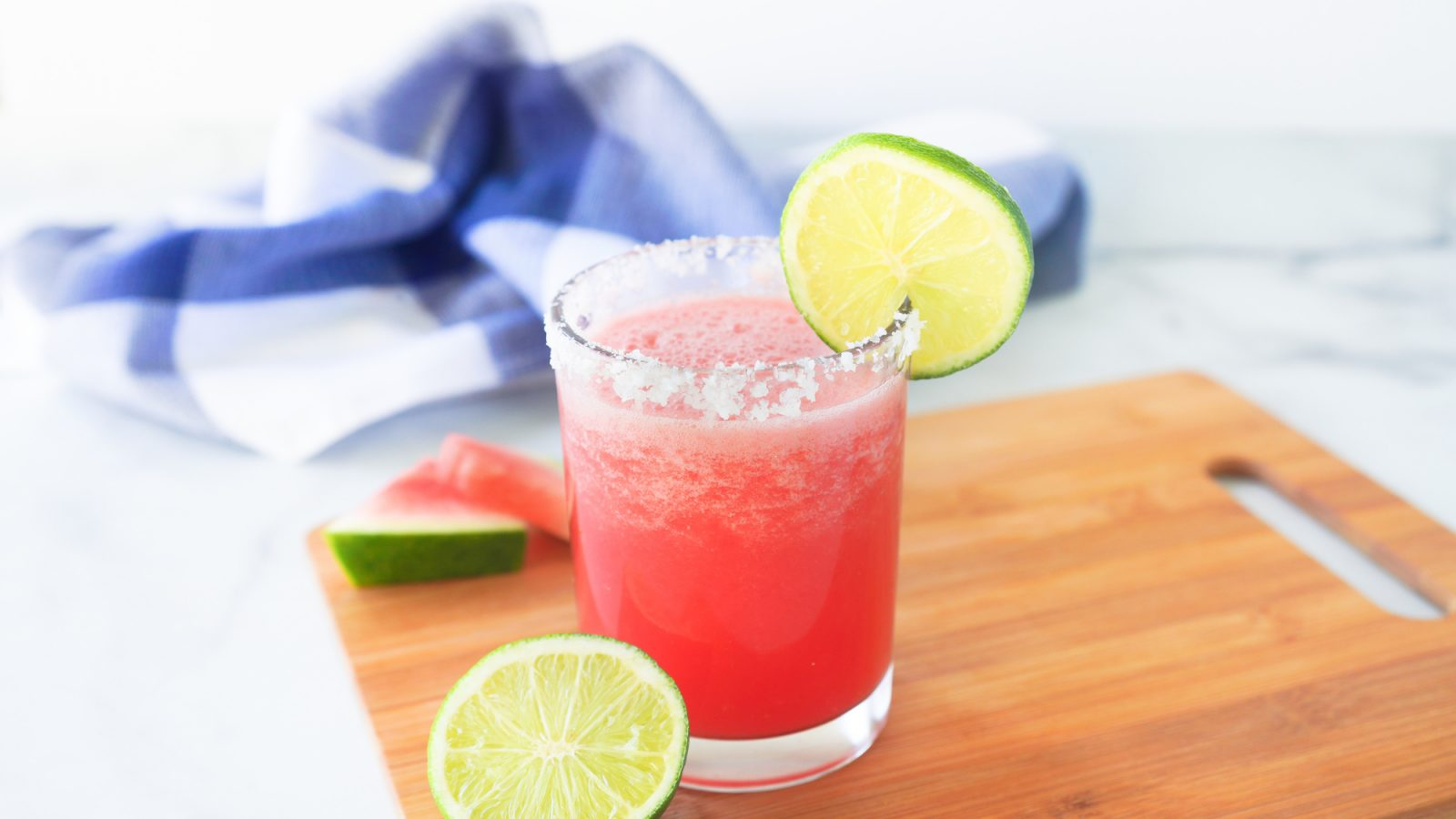 frozen watermelon margarita on cutting board