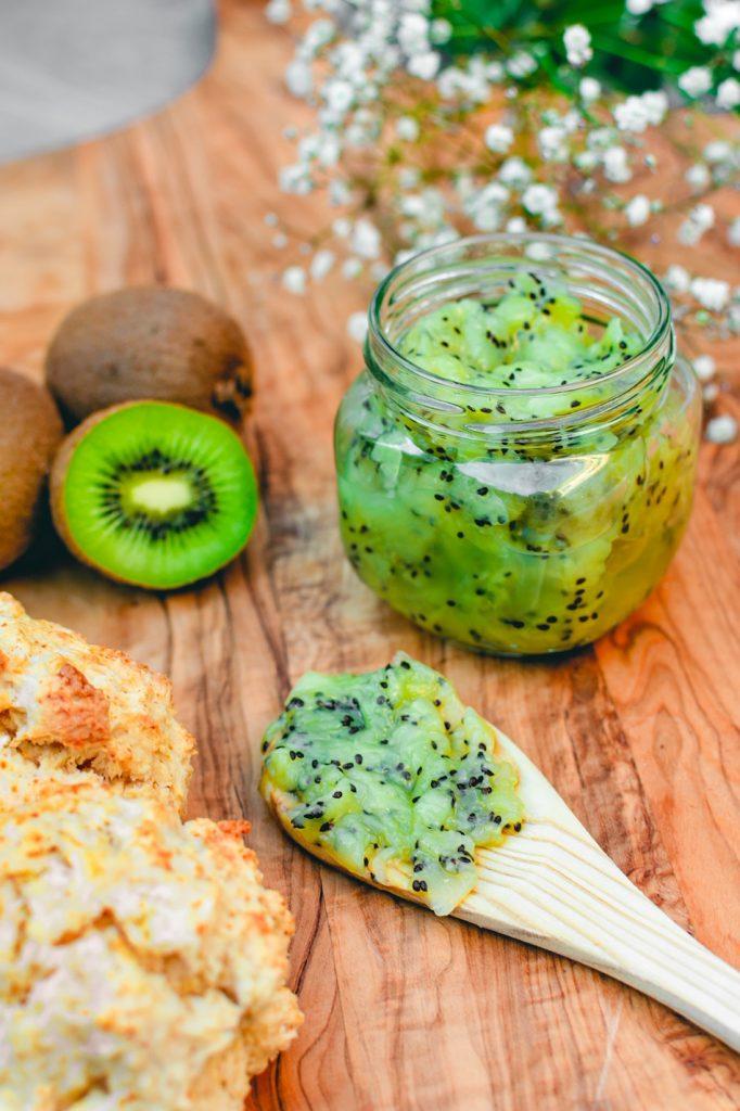 Easy Kiwi Jam recipe on spoon