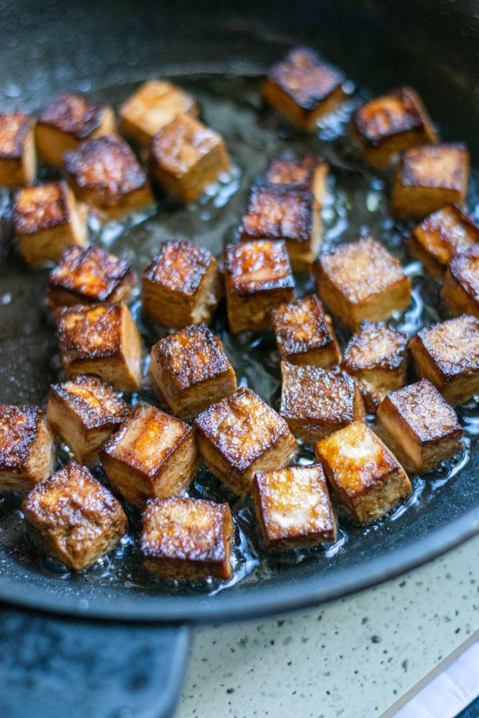 frying kung pao tofu