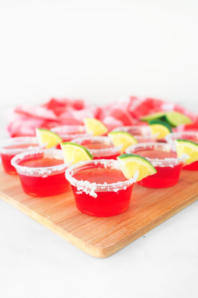 strawberry margarita vegan jello shots on tray