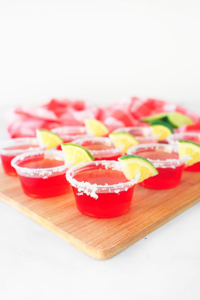 strawberry margarita vegan jello shots on tray