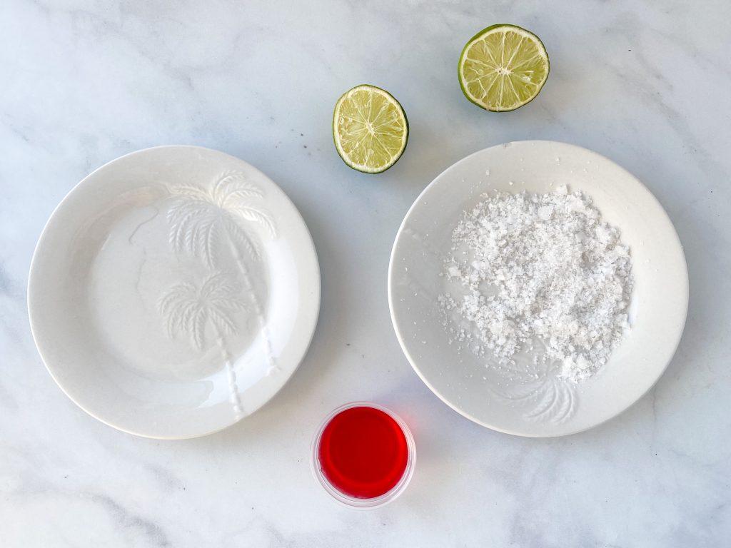 garnish prepared for margarita jello shots