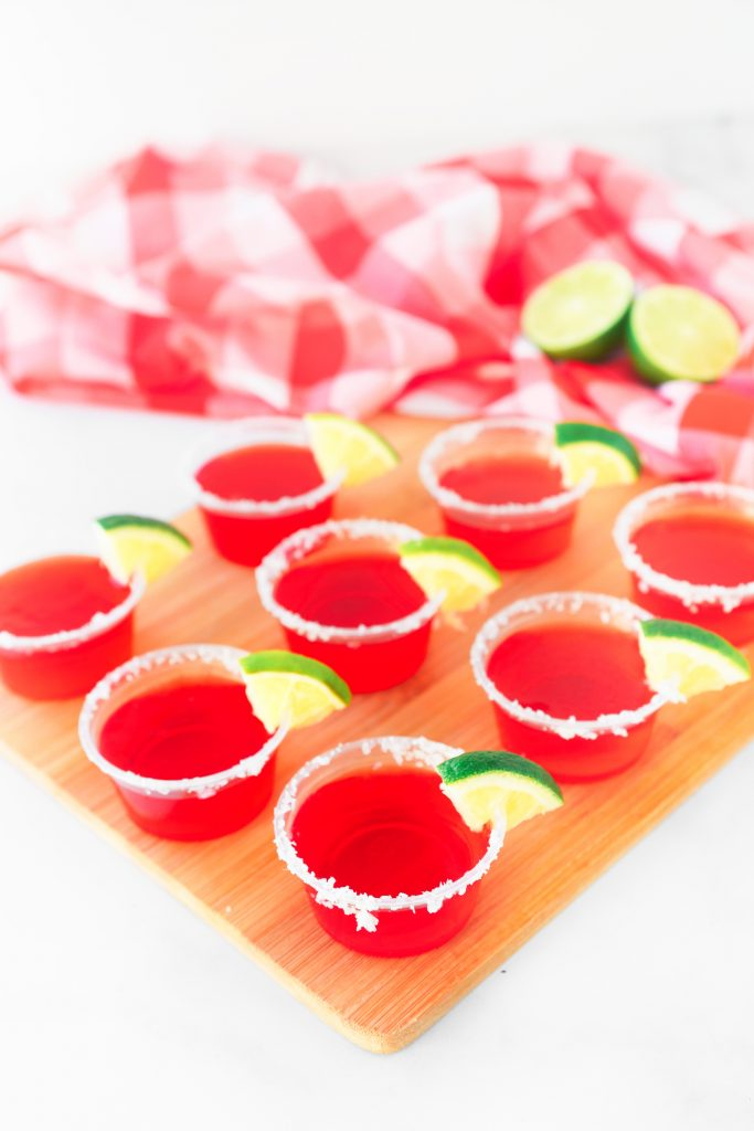 cute strawberry margarita vegan jello shots on tray