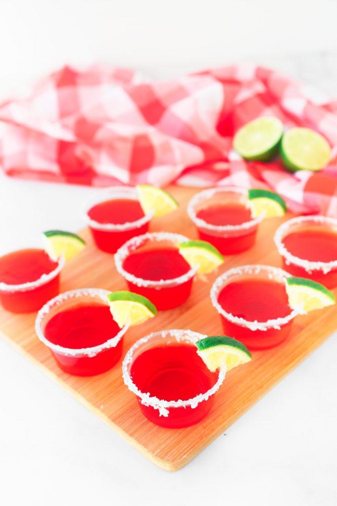 cute strawberry margarita vegan jello shots on tray