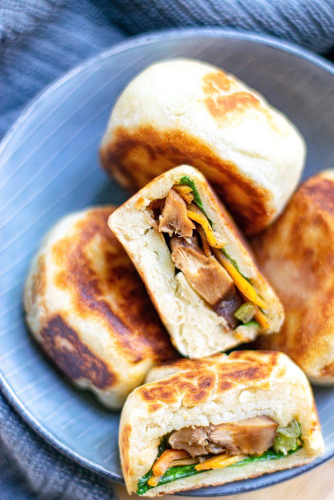 vegan bao buns in a bowl