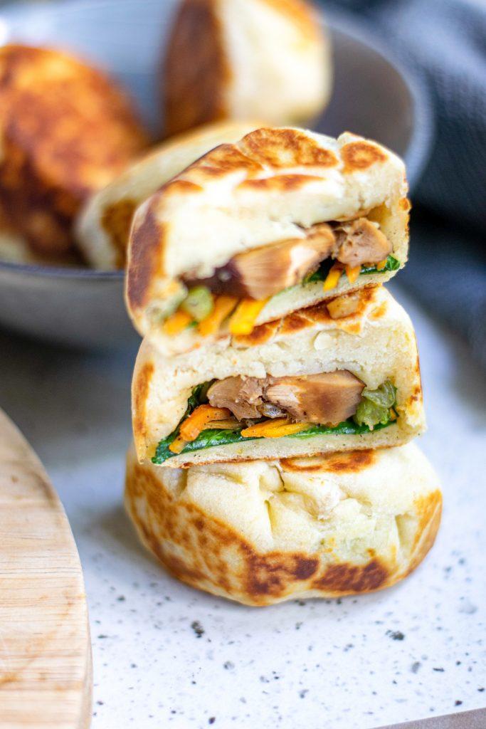 bao bun that is cut in half