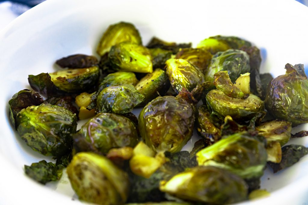 close up detailed photo of roasted  brussels sprouts