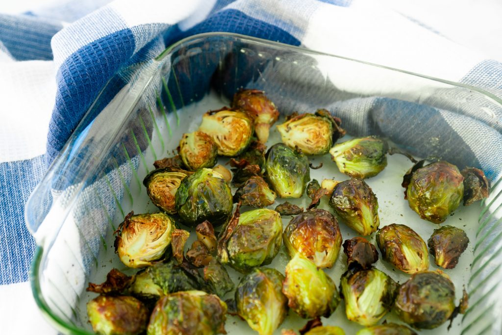roasted brussels sprouts in dish