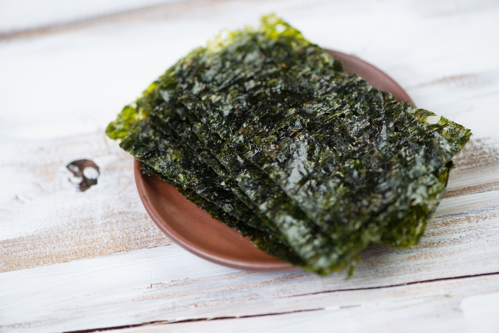 sushi nori sheets on a plate