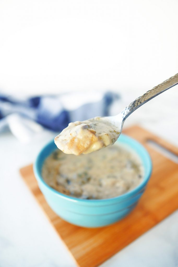 spoonful of vegan clam chowder soup