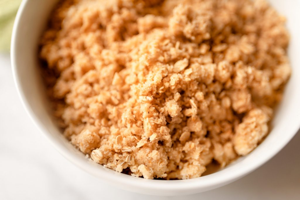 vegan crumble topping close up photo
