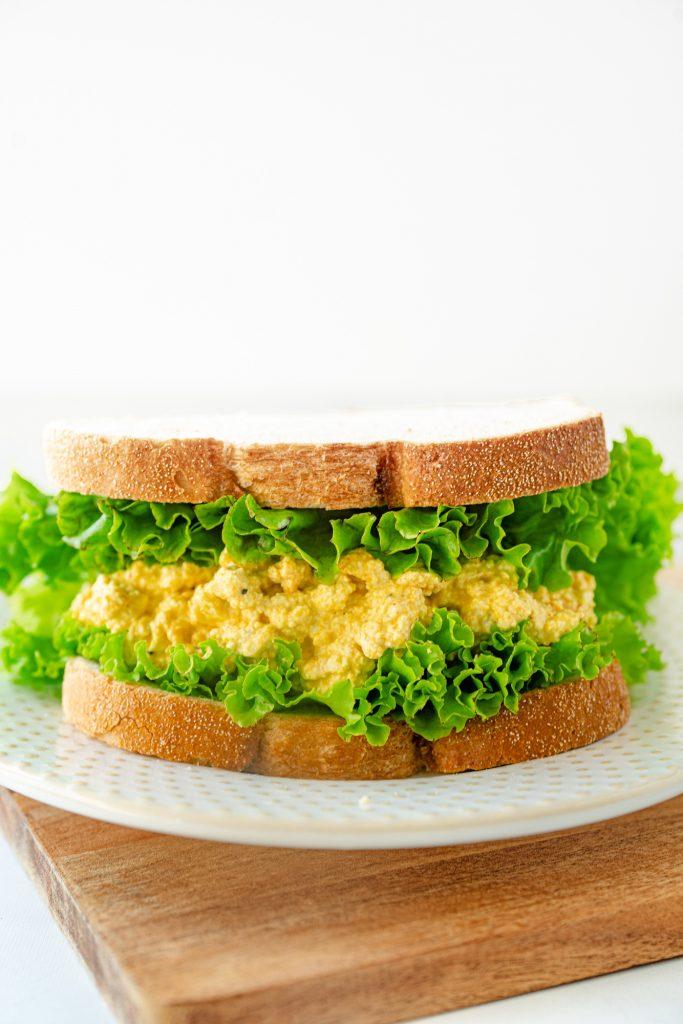 vegan egg salad sandwich on white bread