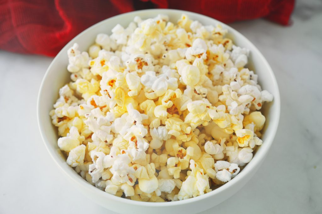 close up of vegan butter popcorn in bowl