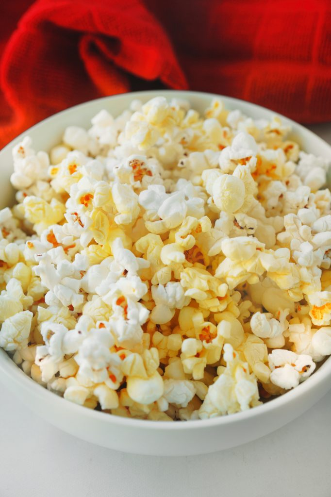 close up photo of movie theater popcorn that is vegan