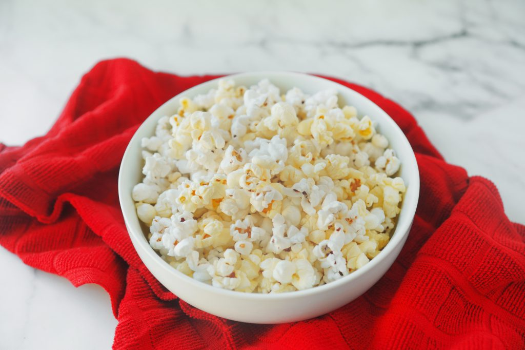 buttery vegan popcorn on red towel