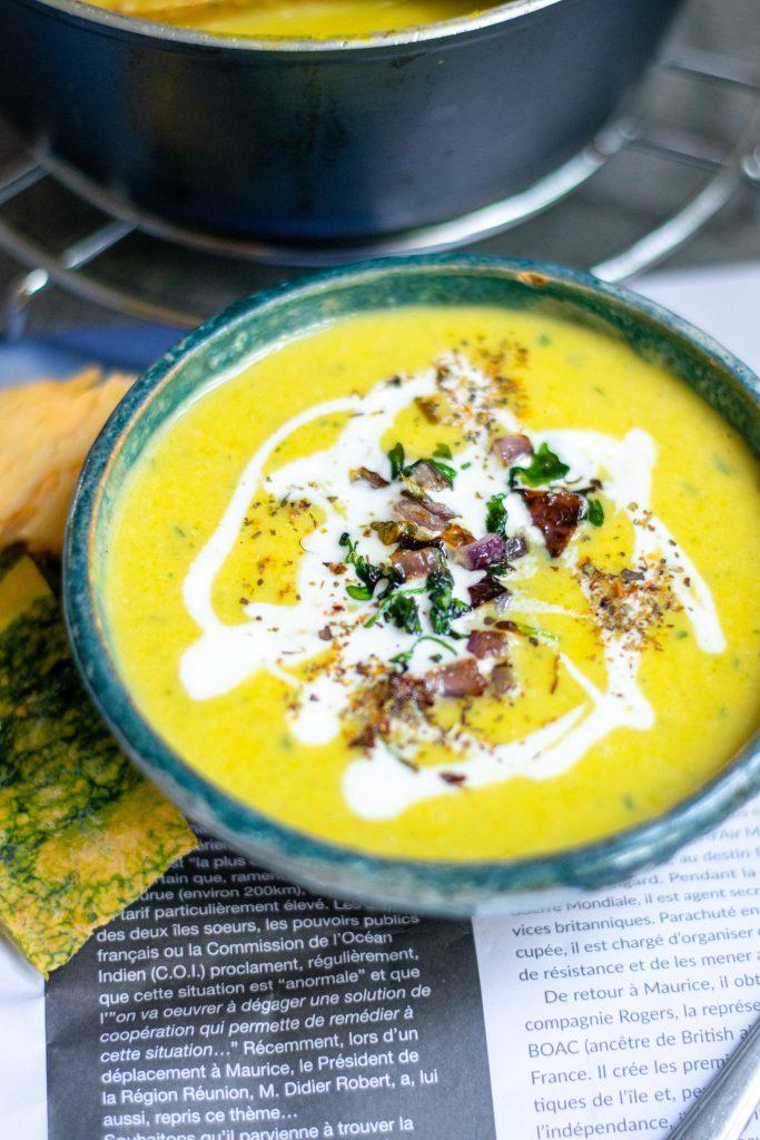 side view of easy vegan pumpkin soup recipe