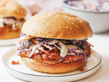 vegan sloppy joes recipe on bun with coleslaw