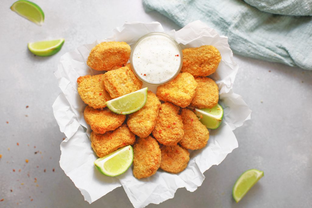 photo of crispy baked tofu nuggets with limes