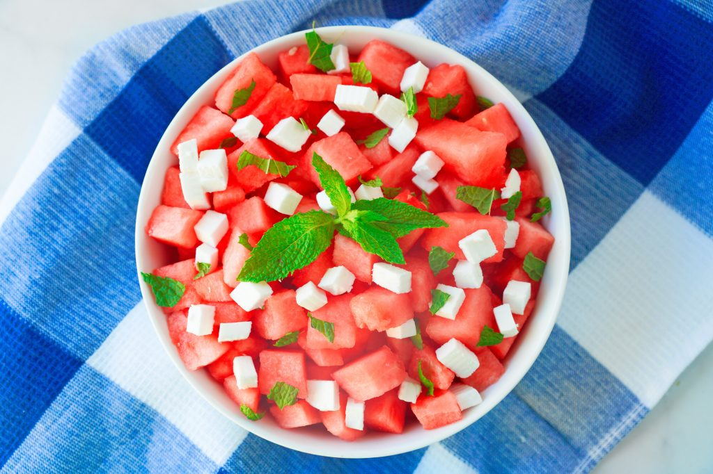 above photo of watermelon salad with vegan feta and mint