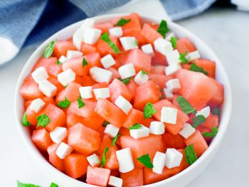 vegan watermelon salad with mint and feta