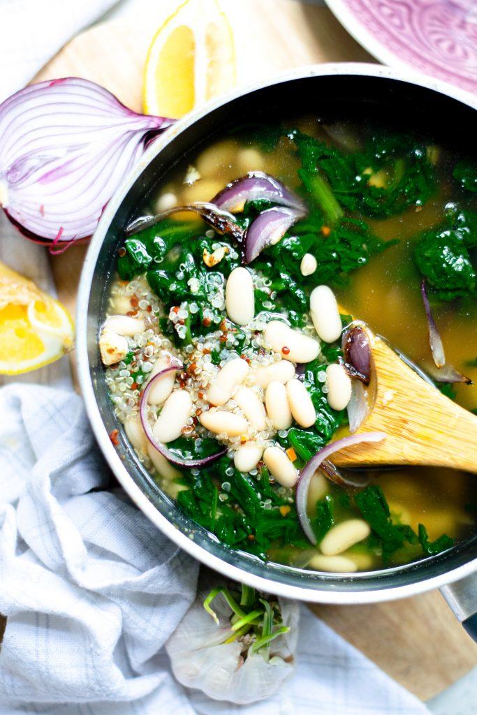 simmering pot of vegan white bean soup