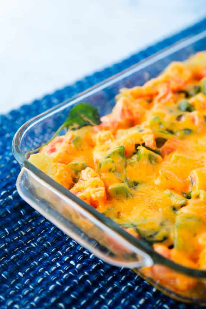 close up photo of vegetarian egg casserole in baking dish