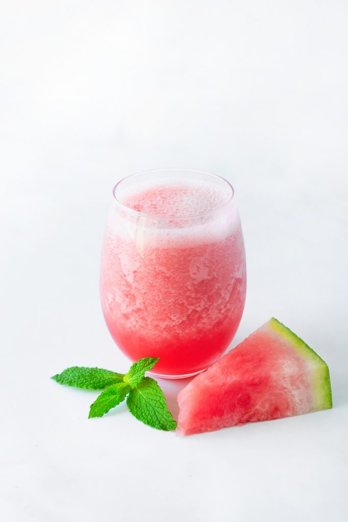 watermelon strawberry smoothie with garnishes