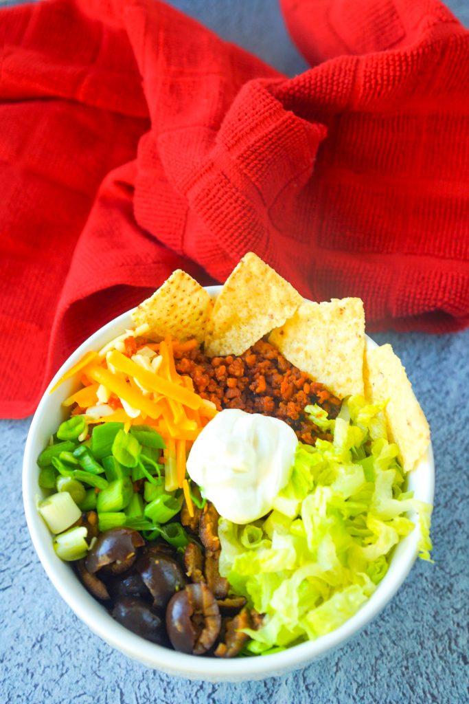 close up of a vegan burrito bowl recipe