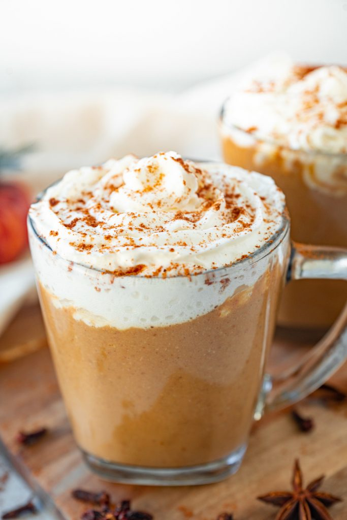 close up of healthy pumpkin spice latte starbucks copycat in cup