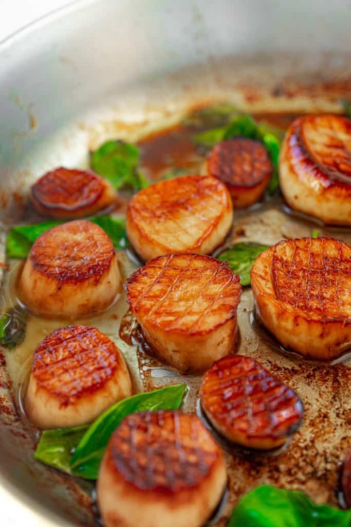 vegan scallops seared in lemon butter with basil