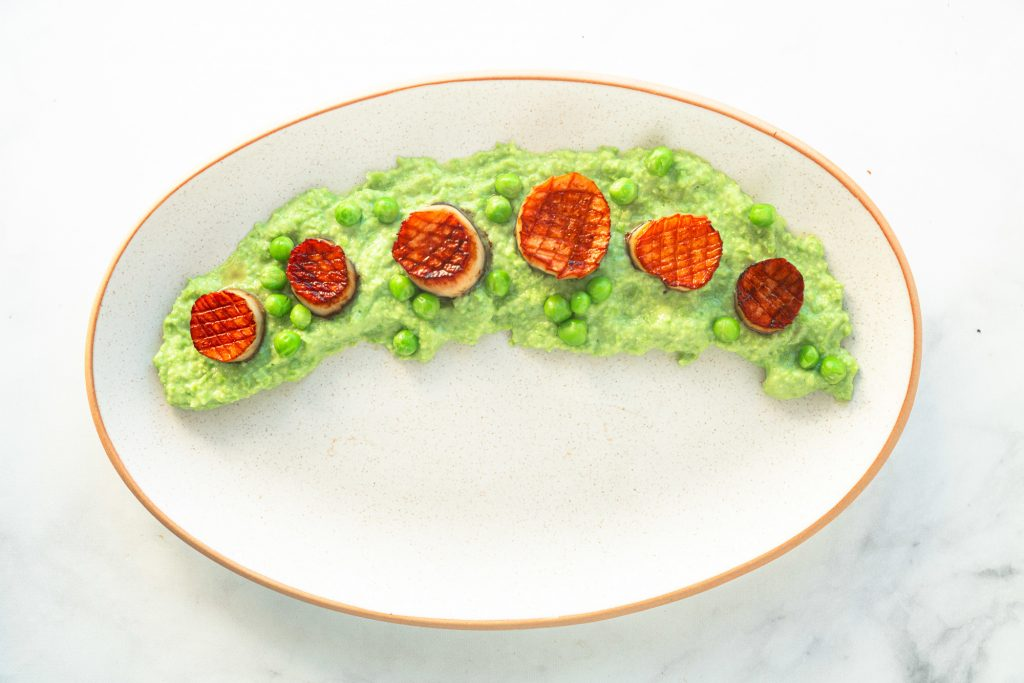 vegan scallops over pea puree