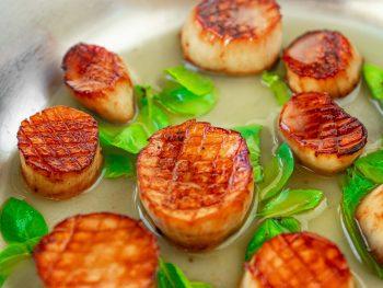 vegan scallops seared in brown butter sauce