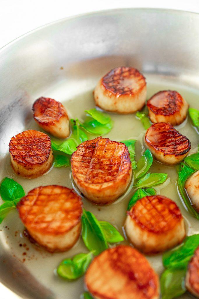 vegan scallops in lemon garlic butter with basil