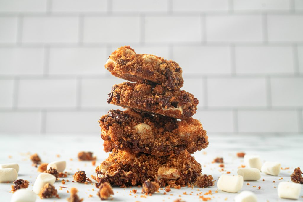 ground up view of stacked vegan smores bars