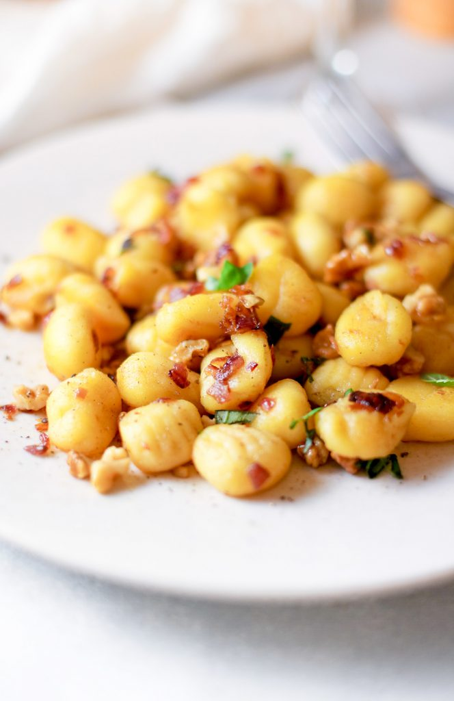 close up photo of vegetarian gnocchi on plate