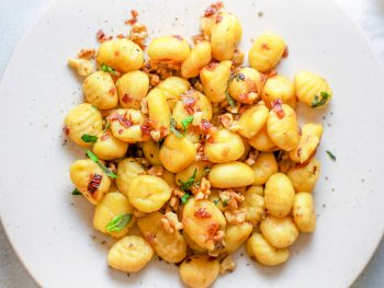 Vegan Gnocchi on plate with white wine sauce