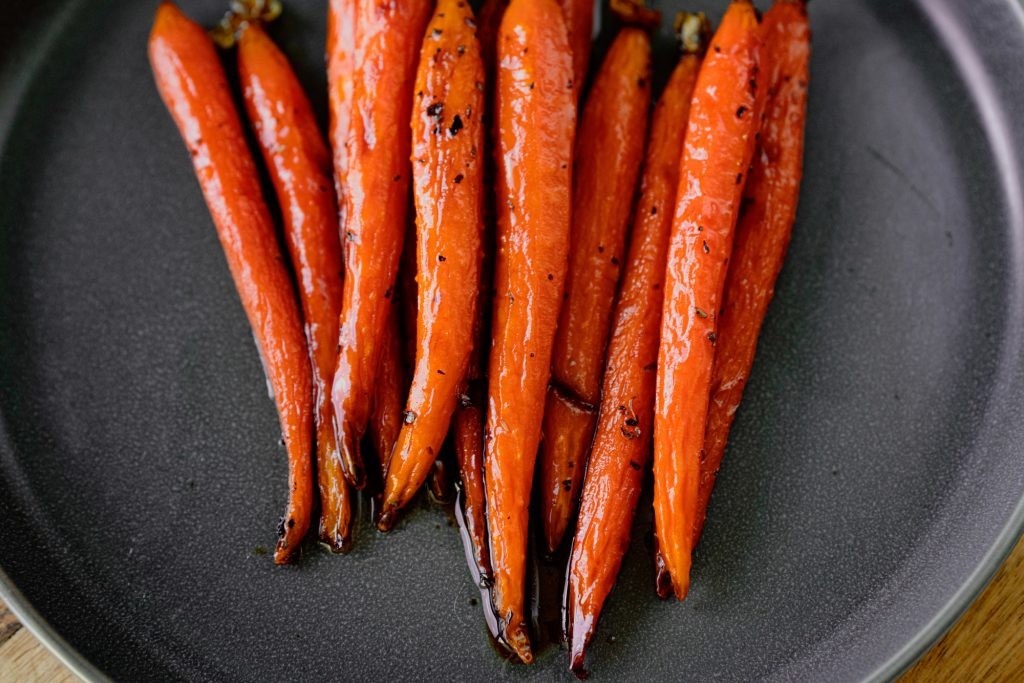 tips of vegan maple roasted carrots