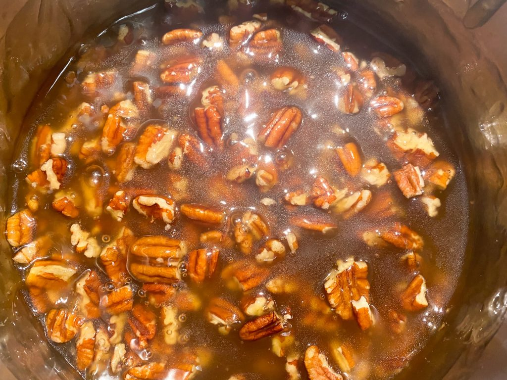 pecan pie filling in pot on the stove