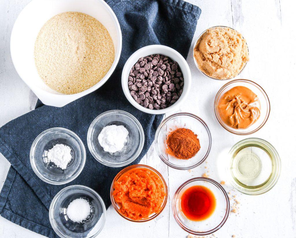 ingredients for making vegan pumpkin brownies