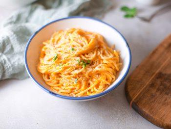 vegan pumpkin pasta in a bowl